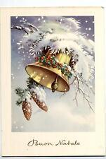 Buon Natale con Campana Xmas w Bell Cloche Glocke Vintage PC Circa 1950 10