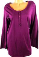 Woman within purpe scoop neck buttoned women's plus size stretch top 22/24 1X