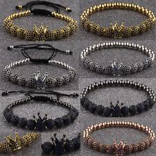 Luxury Men's Blue Zircon King Crown Bracelets Charm Weaving Elastic Bracelets