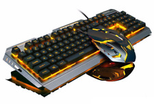 PC Office & Gaming Wired Computer Silver Mechanical Backlight Keyboard Mouse Set