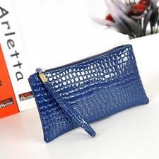 Women Crocodile Long Faux Leather Clutch Handbag Bag Coin Purse Free Shipping