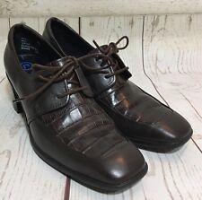 Rockport Brown Faux Croc Square Toe Lace-Up Oxford Block Heel Shoes Size 8M