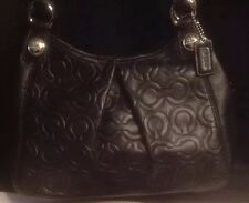 Coach Gramercy Op Art Quilted Embossed Black Leather Maggie Madison Bag EUC
