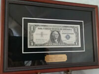 Crisp CU 1957 A $1 One Dollar Bill Blue Seal USA Silver Certificate Framed Note