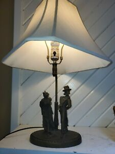 """Vintage Maitland - Smith Bronze Victorian Cat Dog Lamp with Shade 24"""" X 14"""""""