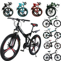"26"" Folding Mountain Bike 21 Speed Bicycle Full Suspension Disc Brakes MTB Bike"