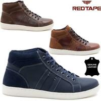 MENS NEW LEATHER HIGH TOPS FLAT CASUAL LACE UP TRAINERS ANKLE BOOTS WALKING SHOE