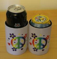 Neoprene Can Holder Cooler Beverage Beer Peace Flower Power Hippy Colour Koozie