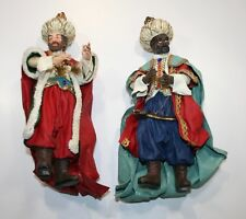 """Lot of 2- Wiseman Midwest Importers Nativity King Clothtique Fabric 9"""""""