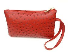 Wristlet Wallet Red Ostrich Faux Leather Vegan Evening Clutch Purse