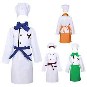 Child Kids Chef Costume Cosplay Party Outfit Jacket Apron with Hat Fancy Dress
