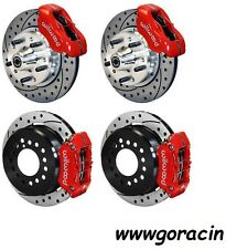 "WILWOOD DISC BRAKE KIT,1965-1969 FORD MUSTANG,11"" Drilled Rotors,Red Calipers"