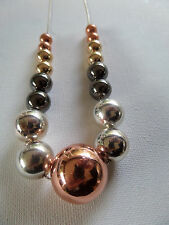 METALLIC  GRADUATED STATEMENT BALL BEADS bronze gold silver gunmetal boxed new