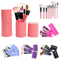 12Pcs/Bottled Blusher Foundation Long Makeup Brush Cosmetic Make Up Tools  uk