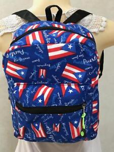 """New PUERTO RICO Flag Unisex BACKPACK BAG Side Pockets GIFT SOUVENIRS 11x8.5x6"""""""