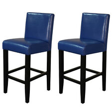 Villa Faux Leather Blue Counter Stools Set of 2 Bar Kitchen Furniture Home Decor
