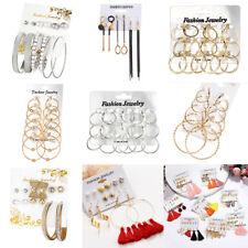 Fashion Rhinestone Crystal Pearl Tassel Earrings Set Women Ear Stud Jewelry Gift