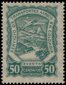 ✔️ COLOMBIA SCADTA 1923 - AIRPLANE OVER RIVER - SC. C44 ** MNH [SCDT34]