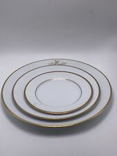 SET OF 3 Princess House Fine China Princess Heritage Dessert Plates Gold Trim.