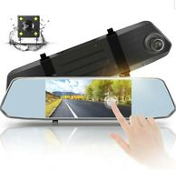 """Front and Back Camera 7"""" Mirror Touch Screen - 1080P Car Dash Cam Dual Dashboard"""