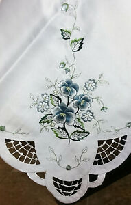 72x108'' Rectangle Embroidered Embroidery Gray Rose Fabric Tablecloth Napkins