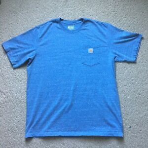Mens Carhartt T Shirt Heather Blue with Pocket Size XL Relaxed Fit Work Wear