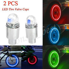 2 PCS Auto Accessories Bike Supplies Neon Blue Strobe LED Tire Valve Caps Light