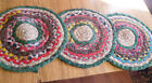 """3 Vintage Rag Rug Placemats / Seat Pads ~THE NANTUCKET~ 15"""" ~SHABBY COTTAGE ~"""