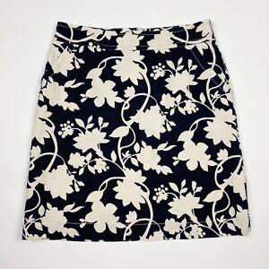 BANANA REPUBLIC Black White Linen Blend Floral Straight Skirt - Size 8