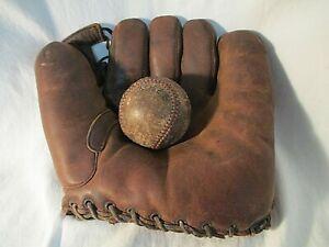 Old Split Finger 1940's Bob Feller Baseball Glove & Ball
