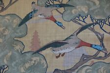 "MULBERRY CURTAIN FABRIC DESIGN ""Flying Ducks"" 3.6 METRES SAND 100% LINEN"