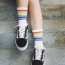 Ladies White Rainbow Striped Ankle Socks One Size Casual Sport - LS0045