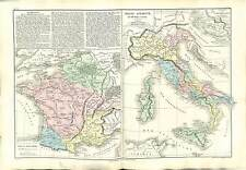 FRANCE GAULOIS GAULE ANCIENNE ITALIA ITALY ANTIQUITY  MAP CARTE ATLAS 1870