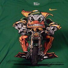 Men's Nike Oregon Ducks Mascot Motorcycle Graphic T-Shirt Bright Green Size XL