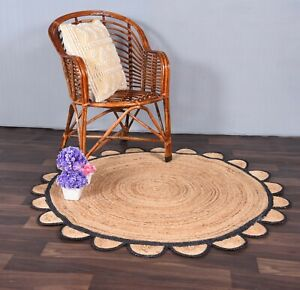 scalloped jute round yoga mat beige colour rug with black border vintage rugs