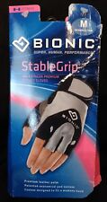 Bionic Women's StableGrip Half Finger Leather Palm Fitness Gloves Pair Size M