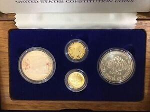 1987 US Constitution 4-Coin Commemorative Set 2 GOLD & 2 silver w/ COA