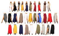 Women Ladies Double Side Slit Split Plain Black Stretchy Gypsy Maxi Long Skirt