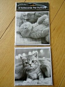 8 NOTECARDS - CUTE KITTENS CATS - blank : thank you - any message - notelets