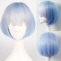 Lolita Short Straight Full Wig Blue Ombre Bob Hair Wigs Cosplay Party Halloween