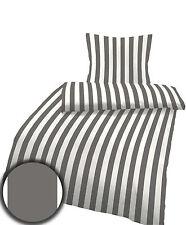 Baumwoll Satin Bettwäsche 135x200 cm Streifen grau