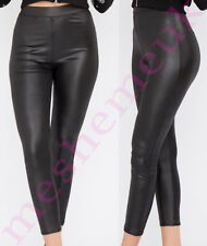 Womens Black Wet Look Leggings Ladies Faux Leather Wet Look Leggings Size 8-16