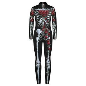 Kids Boys Girls Skeleton Printed Jumpsuit Halloween Party Costume Bodysuit #S-XL