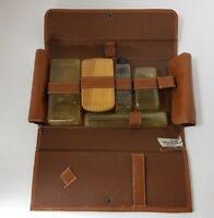 "Vintage Mens Leather Travel Toilet Dopp Kit Brown 11.25""×6"""