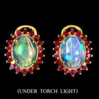 Unheated Oval Fire Opal 9x7mm Ruby Diamond Cut 925 Sterling Silver Earrings