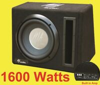 """10"""" inch Active bass subwoofer box 1600 watts Extreme Bass + cables"""