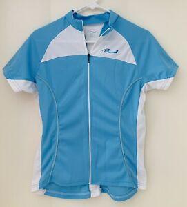 Primal Women's L Large light blue Cycling Bike JERSEY full zip short sleeve USA