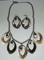 Vintage Necklace & Pierced Dangle Earring Set 20 Inch Metal Chain HUGE DEAL