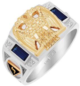 New Men's Two-Tone Masonic Scottish Rite Customizable Solid Back Ring