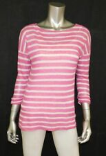 RALPH LAUREN Dark Pink/White Striped 3/4 Sleeve Lightweight Linen Sweater sz S